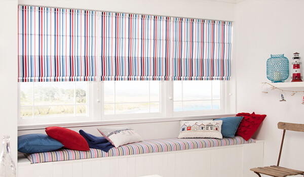 Perfect Fit Striped Roman Blinds for Large Window