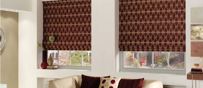Maroon Patterned Cotton Roman Blinds