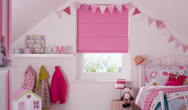 Pink Spotty Roman Blackout Blinds for Child's Bedroom