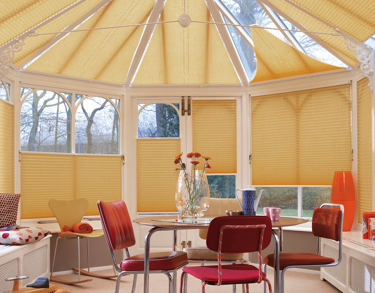 Perfect Fit Yellow Pleated Solar Blinds