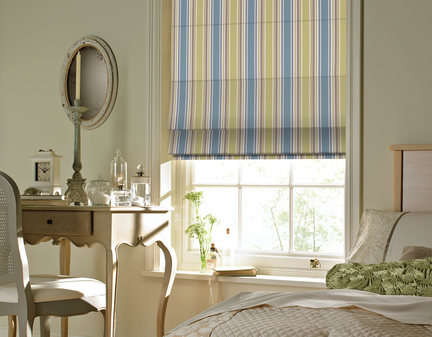 Vertically Striped Roman Blinds in bedroom