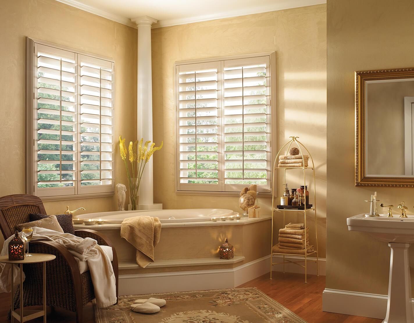 faux wood shutters in bathroom