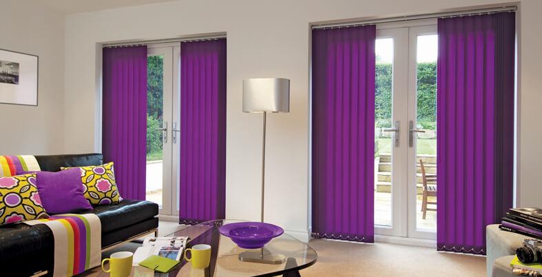 Vertical purple blinds for patio doors