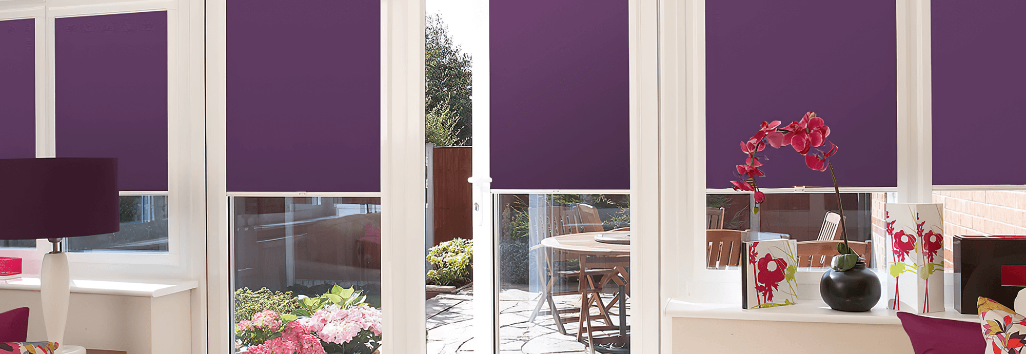 purple perfect fit roller blinds for conservatory doors and windows
