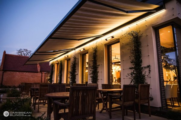 restaurant awnings over patio