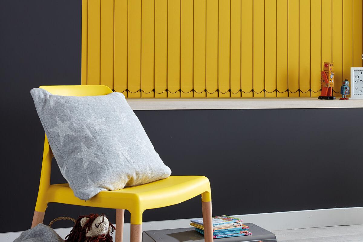 yellow blackout vertical blinds
