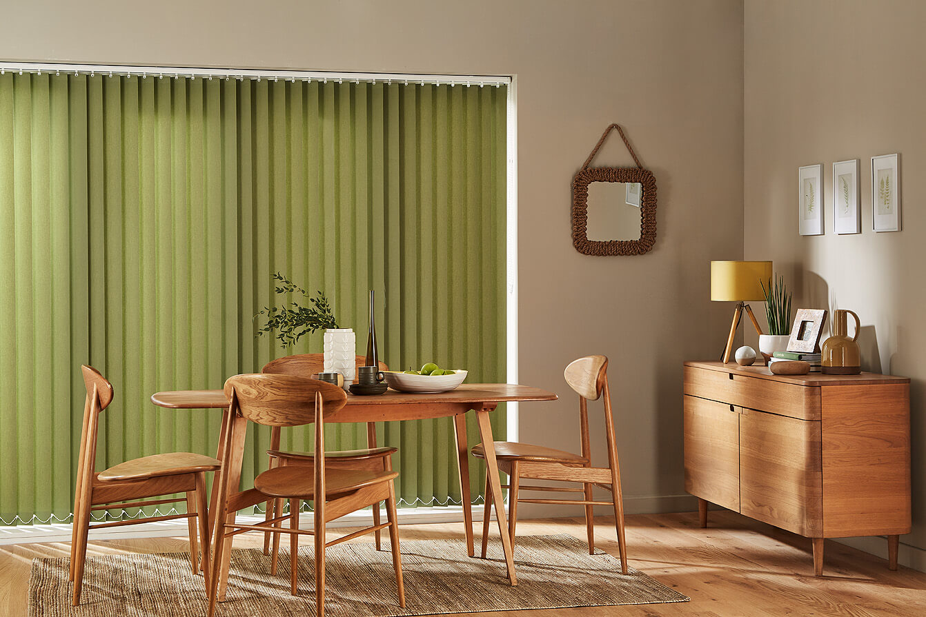 green vertical blinds for dining room